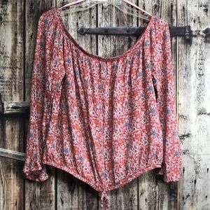 Love, Fire XL pink cropped floral top